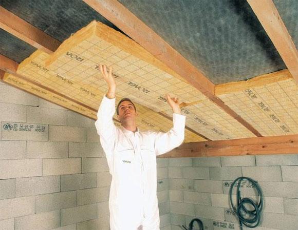 как сделать потолок в бане из пеноблоков