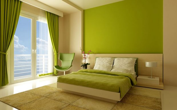 Спальня с разноцветным дизайном